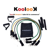'KOOL KIT': SET DE TUBOS ELASTICOS CON MANGOS CON RESISTENCIA VARIABLE KOOLOOK, CON DOOR ANCHOR